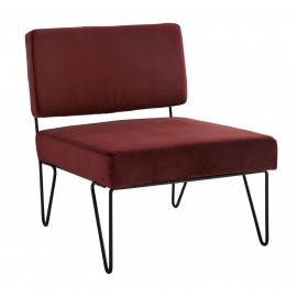 madam stoltz fauteuil bas retro velours rouge metal noir