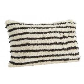 madam stoltz housse de coussin laine raye noir blanc