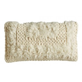 coussin rectangulaire laine grosse maille franges ecru bloomingville