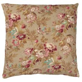 ib laursen housse de coussin carree grosses fleurs rose marron 1907-61