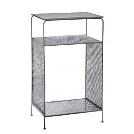 madam stoltz chevet style industriel metal perfore gris 21722PG