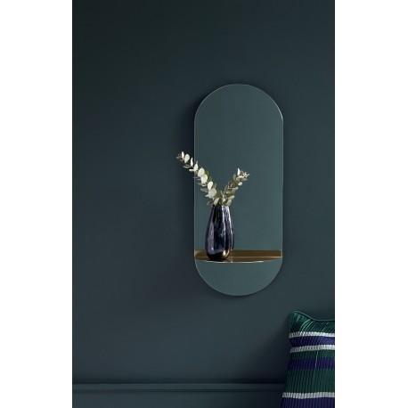 nordal miroir mural ovale avec tablette laiton 4067