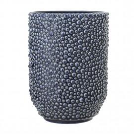 Vase bleu relief céramique Bloomingville
