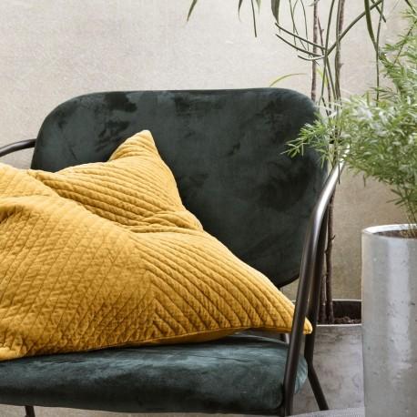 Housse de coussin carrée velours texturé jaune House Doctor Velv