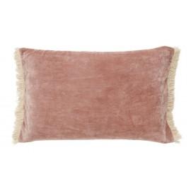 nordal housse de coussin rectangulaire velours rose poudre franges
