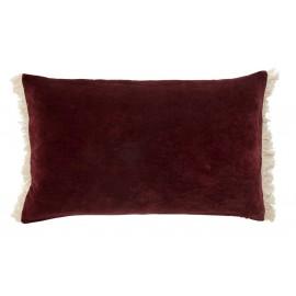 nordal housse de coussin velours rectangulaire rouge bordeaux franges