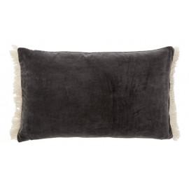Housse de coussin rectangulaire velours gris franges Nordal