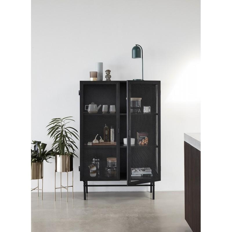 hubsch vitrine vaisselier metal perfore style industriel noir 020608. Black Bedroom Furniture Sets. Home Design Ideas