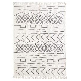 Tapis coton écru motif ethnique Madam Stoltz