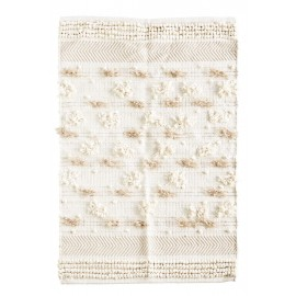 Petit tapis chindi franges écru beige Madam Stoltz