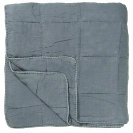 ib laursen plaid coton matelasse uni bleu devale 6209-68