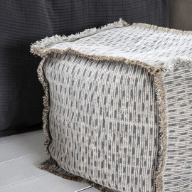 house doctor abi petit pouf carre ecru gris coton jute Ab3211
