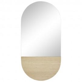 hubsch miroir mural ovale avec bois chene clair 880807