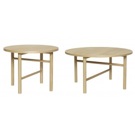 Set de 2 tables basses rondes scandinaves bois clair Hübsch