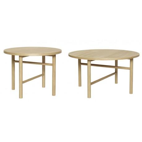 hubsch set de 2 tables basses rondes bois chene clair scandinaves ...