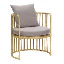 hubsch chaise fauteuil design rotin naturel coussin 310805