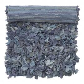 Petit tapis chutes de tissu recyclé Bungalow Denmark bleu