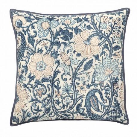 bungalow denmark housse de coussin soie motif fleuri bleu