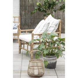 ib laursen fauteuil bas rustique bois bambou coussin ecru 2290-00