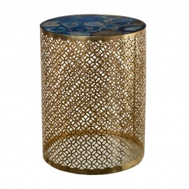 Table basse ronde métal laiton pierre bleu Pols Potten