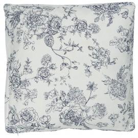 ib laursen housse de coussin carree imprime fleuri bleu 6609-13