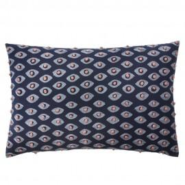 bungalow denmark coussin rectangulaire brode ayushi bleu 40 x 60 cm