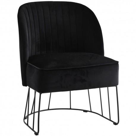 madam stoltz fauteuil retro velours noir