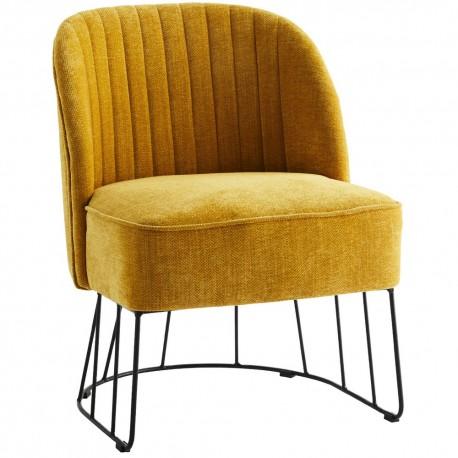 madam stoltz fauteuil jaune curry textile chenille