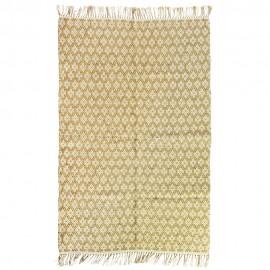 madam stoltz tapis tisse coton jute jaune moutarde 120 x 180 cm