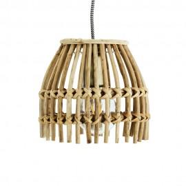 madam stoltz petite suspension bois bambou tresse style naturel