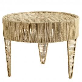madam stoltz table basse ronde jute naturel style boheme