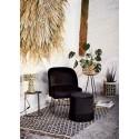 madam stoltz tapis tisse style retro chic noir coton jute 120 x 180 cm