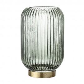bloomigville vase verre strie vert base laiton 23602672