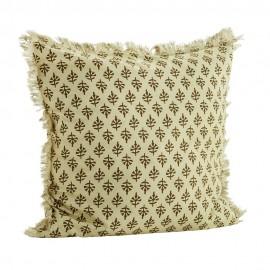 madam stoltz housse coussin coton imprime franges 50 x 50 cm