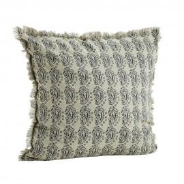madam stoltz coussin retro vintage franges coton imprime gris