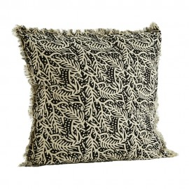 madam stoltz coussin vintage franges noir blanc coton imprime