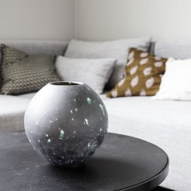 Vase rond grès émaillé House Doctor Planet gris vert