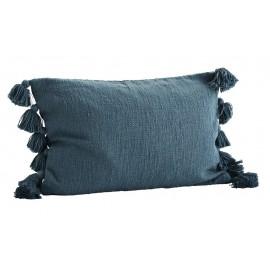 Housse de coussin rectangulaire pompons coton Madam Stoltz bleu