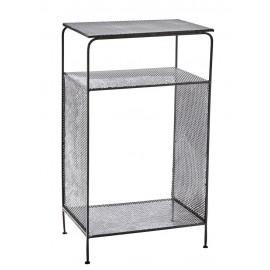 madam stoltz table d appoint metal noir perfore style industriel