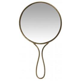 Miroir à main rond ancien vintage métal laiton IB Laursen