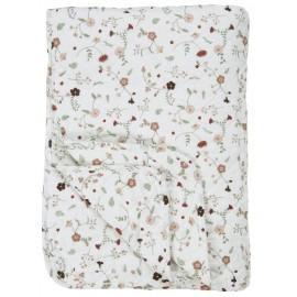 ib laursen plaid coton matelasse petites fleurs roses 130 x 180 cm