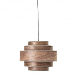 Suspension scandinave ronde bois noyer Bloomingville Walnut