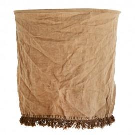 Abat-jour tissu lin franges délavé Madam Stoltz marron