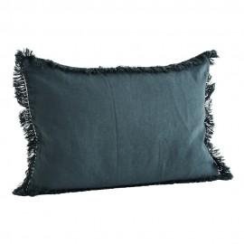 madam stoltz housse de coussin rectangulaire lin franges bleu delave