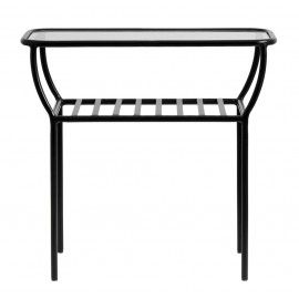 nordal table basse d appoint metal noir verre tablette