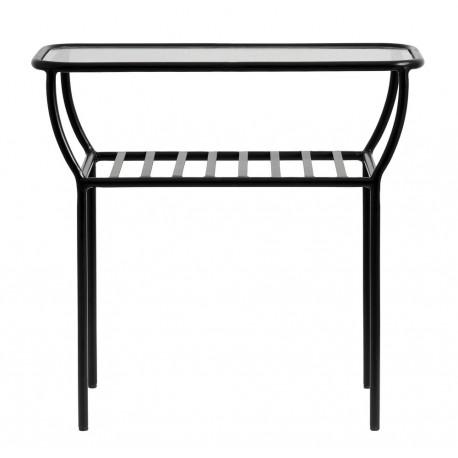 nordal table basse d appoint metal noir verre tablette