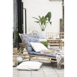 ib laursen grand matelas de transat bleu toile de coton 70 x 190 cm