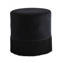 madam stoltz pouf rond velours noir franges style retro