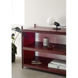 Étagère basse 3 niveaux bois métal Hübsch rouge