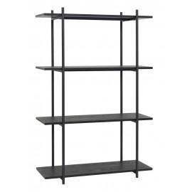 Grande étagère à poser style épuré design noir bois métal Hübsch